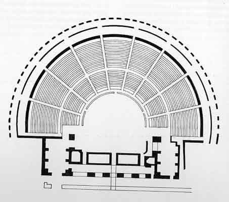 Schema di un antico teatro greco