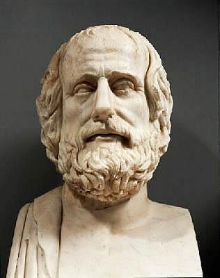 La comeddia nel teatro greco - scultura di Aristofane